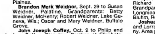 - Plaines. Brandon Mark Weidner, Sept. 29 to...