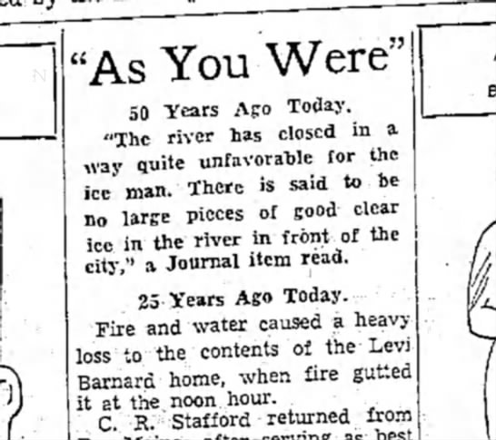 """Barnard, Levi - """"As You Were"""" 50 Years Ago Today. """"The river..."""