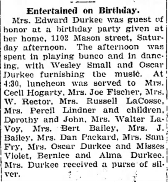 Agnes Lindner & kids at party - Entertained on Birthday. Mrs. Edward Durkee was...