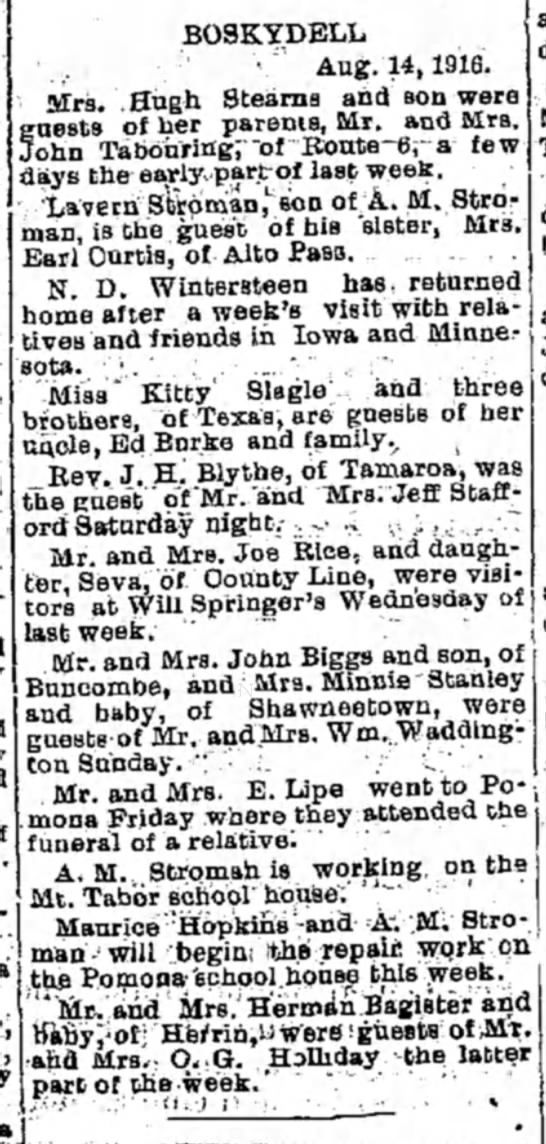 Boskeydell News - '. a a BO3KYDELL ' ., • Aug. 14,1916. Mrs. Hugh...