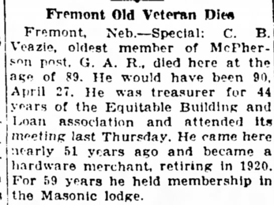 Sioux City (Iowa) Journal 17 Apr 1930 Charles B Veazie - Fremont Old Veteran Dit* Fremont, Neh.—Special:...