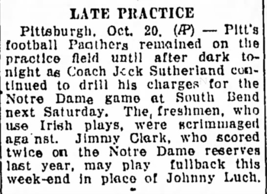 johnny luch - LATE PRACTICE Pittsburgh. Oct. 20. (ff) —...