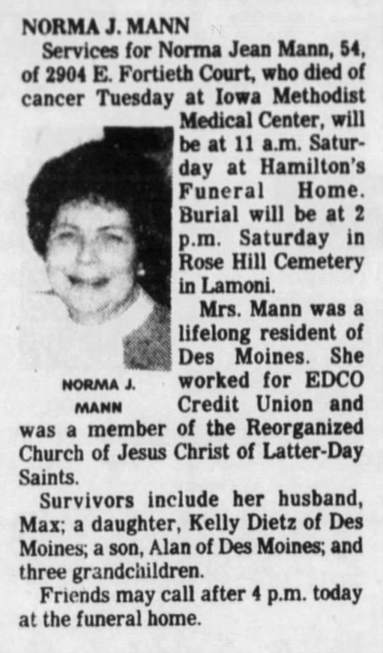 Obituary for Norma Jean Keown Mann - NORMA J. MANN Services for Norma Jean Mann, 54,...