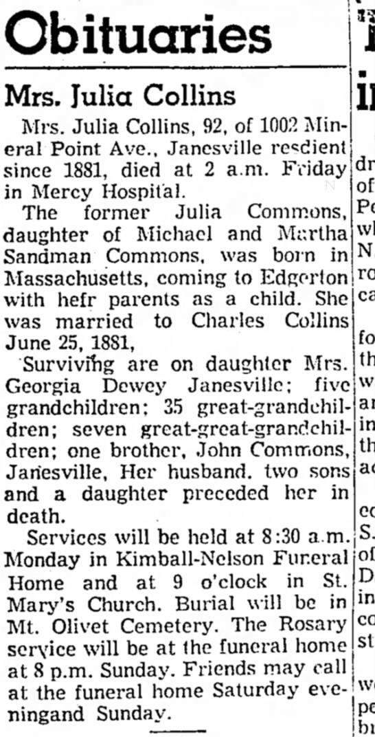 Julia Commons Collins obit 22 October 1954