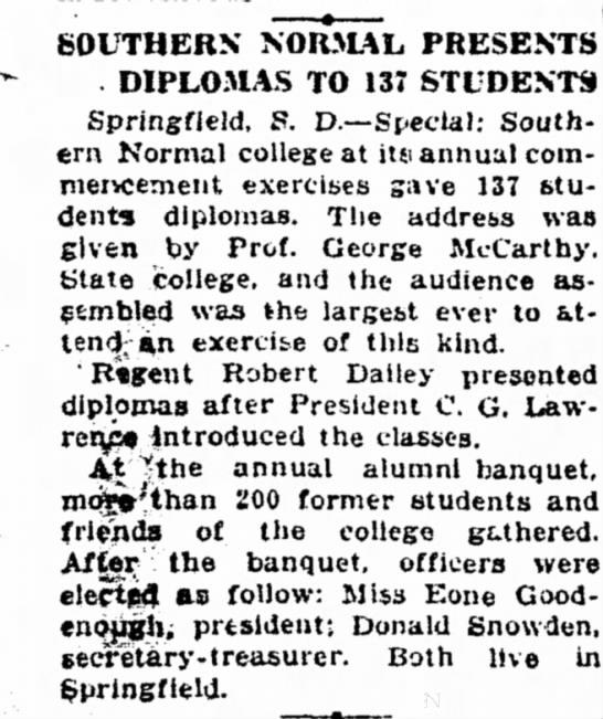 Robert Dailey, Regent, presents diplomas - SOUTHERN NORMAL PRESENTS DIPLOMAS TO 137...