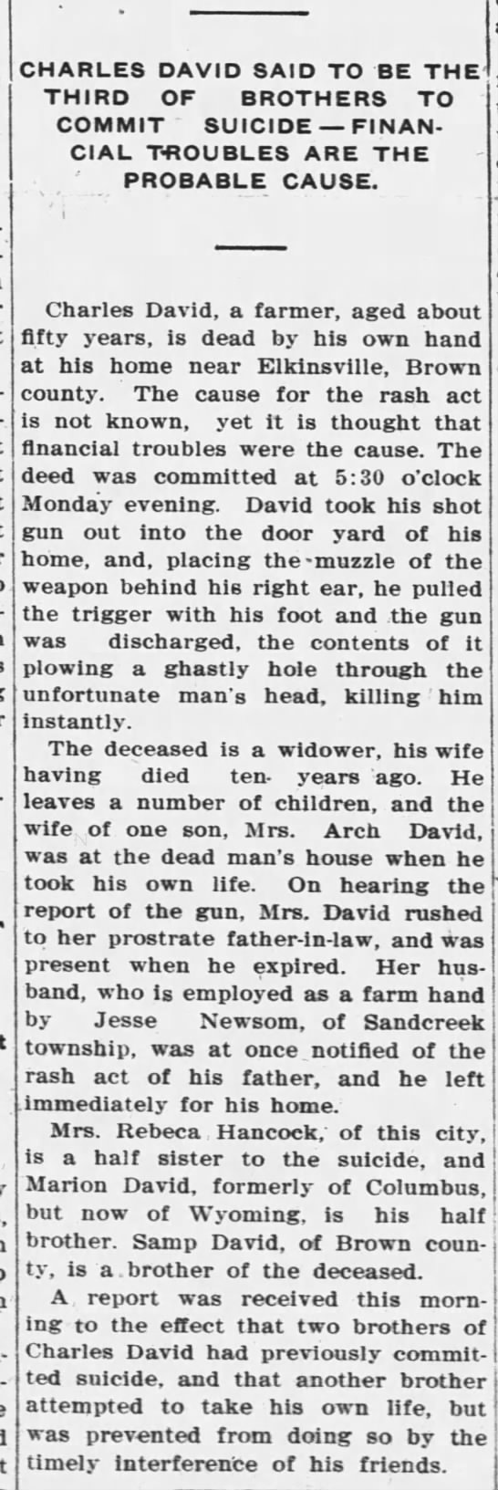 The Republic (Columbus, Indiana Tuesday 30 July 1907 page 1 - Scotts-burg CHARLES DAVID SAID TO BE THE THIRD...