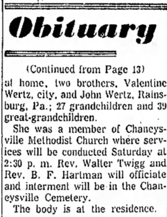 Continuation of the Obituary of Mary Ann Wertz Hook Bennett - (Continued from Page 13) al home, two brothers,...