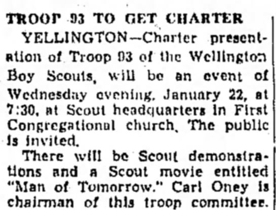 Scouts - Carl Oney - TROOP 93 TO GET CHARTER YELLINGTON— Ch'nrtcr...