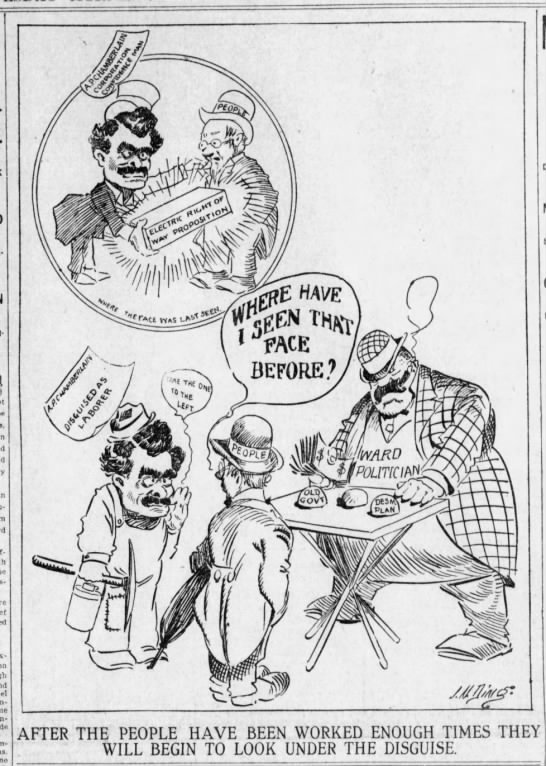 Editorial cartoon, 1907 - I AFTER THE PEOPLE WILL BEGIN HAVE BEEN WORKED...
