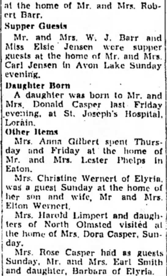 Avon, 23 January 1947 - Millie Casper's birth and other family information, Chronicle Telegram - at the home of Mr. and Mrs. Robert Robert Darr....