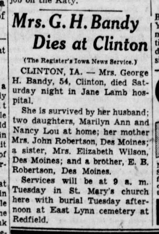 Grace Robertson Bandy Obituary - a it in it of in he Mrs.G. H. Bandy Dies at...