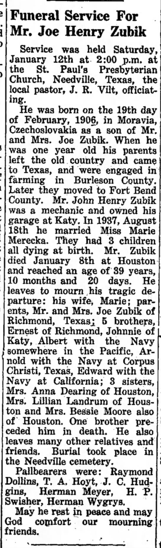 Brookshire Times 25Jan1946 Funeral Service for Mr. Joe Henry Zubik - Funeral Service For Mr. Joe Henry Zubik Service...