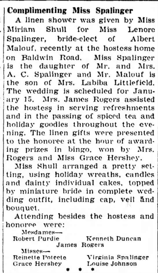 Aunt Lenore - Complimenting Miss Spalinger A linen shower was...