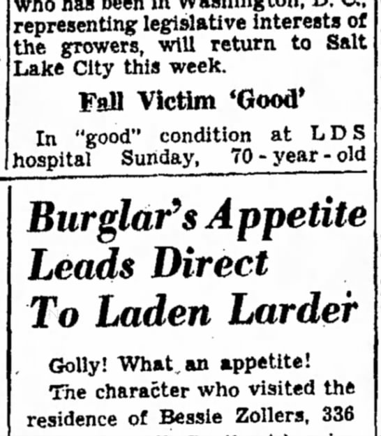 "1949 George Carrigan ""goog"" after fall. - Burglar's Appetite Leads Direct To Laden Larder..."