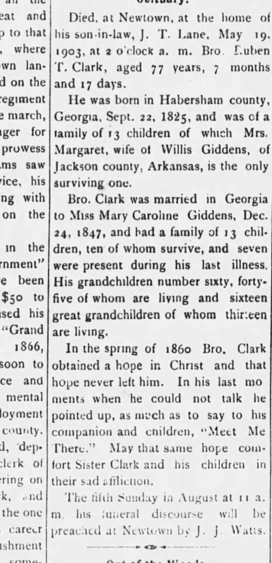 Mary Caroline Giddens husband's death - and to that where own lan on the regiment...