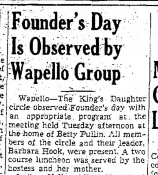 1942 (21) Wapello Muscatine Journal 1.14.1942 - Founder'sDay Is Observed by WapelL King's...