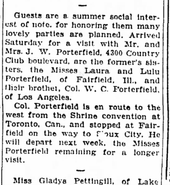 22 Jun 1930Sioux City JournalIowa Joseph Wall Porterfield - Guests are a summer social Interest Interest of...