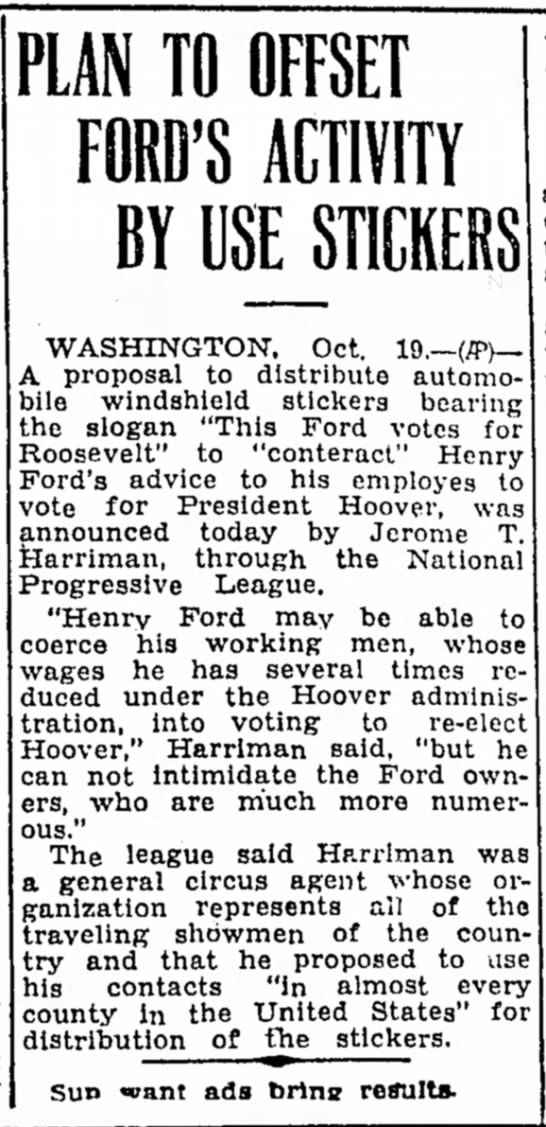JTH Roosevelt Corsicana Daily Sun 10-19-1932 - PLAN TO OFFSET FORD'S ACTIVITY BY USE STICKERS...