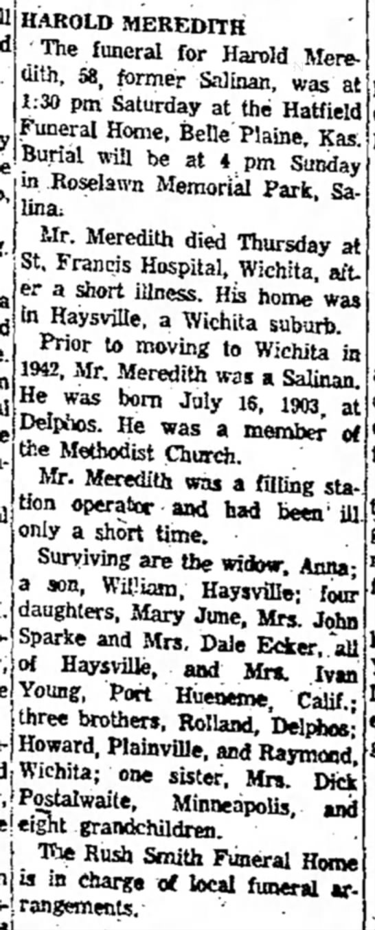 Harold Meredith obit