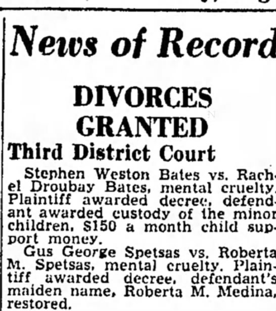 gus and roberta - Neivs of Record DIVORCES GRANTED Third District...