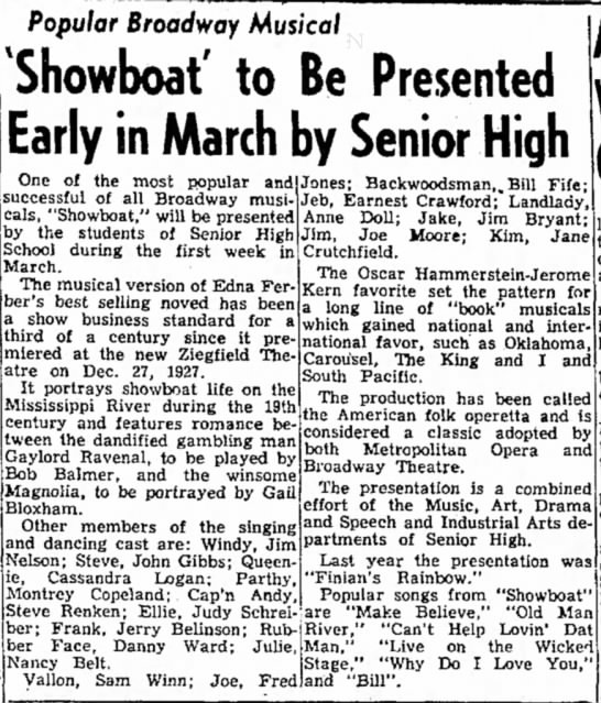 1-22-61 Showboat musical background - Magnolia, Bloxham. Popular Broadway Musical...