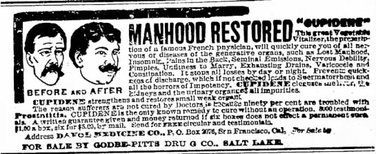 Manhood Restored-10-13-1897 - MANHOOD RESTORED lns;omnir. i'ainsmuie...