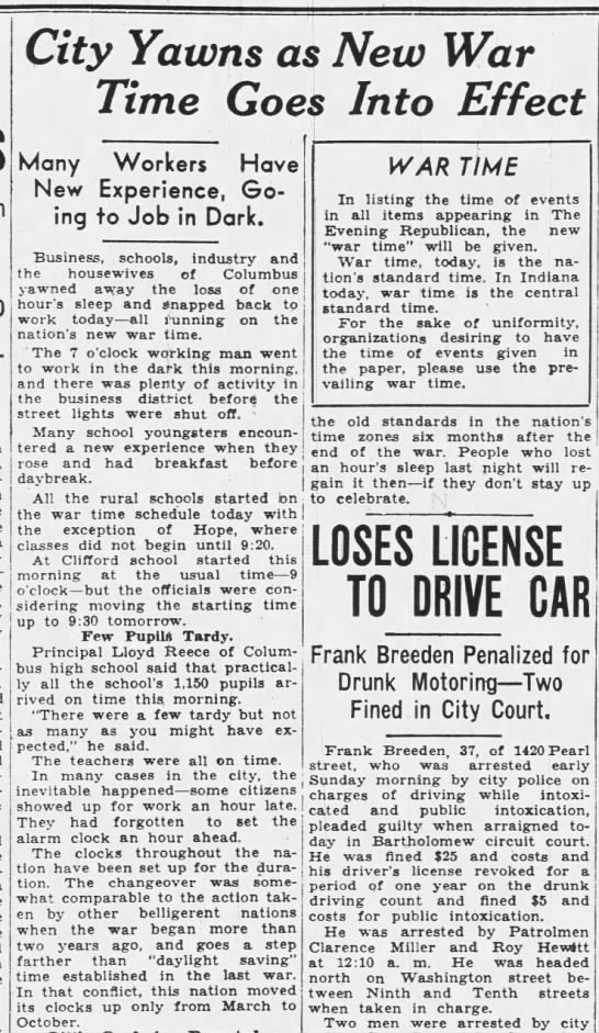 """""""War Time"""" begins in Indiana, 9 Feb 1942 - Tyn-dall, City Yawns as New War Time Goes Into..."""