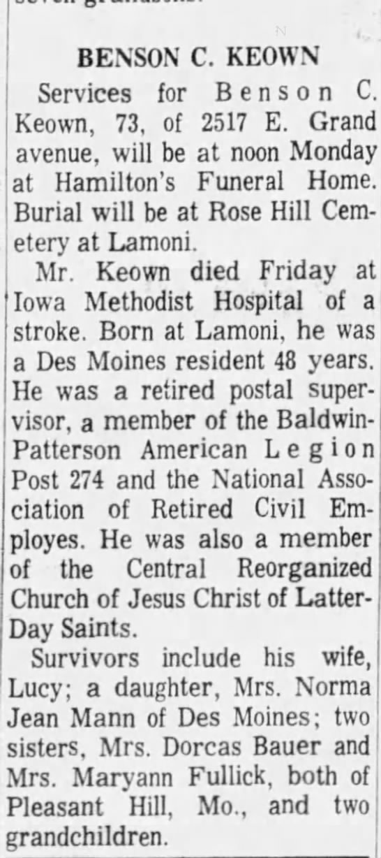 Obit for Benson Cortez Keown - BENSON C. KEOWN Services for Benson C. Keown,...