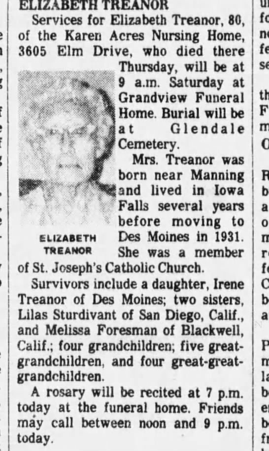 Elizabeth Treanor Obit - ELIZABETH TREANOR Services for Elizabeth...