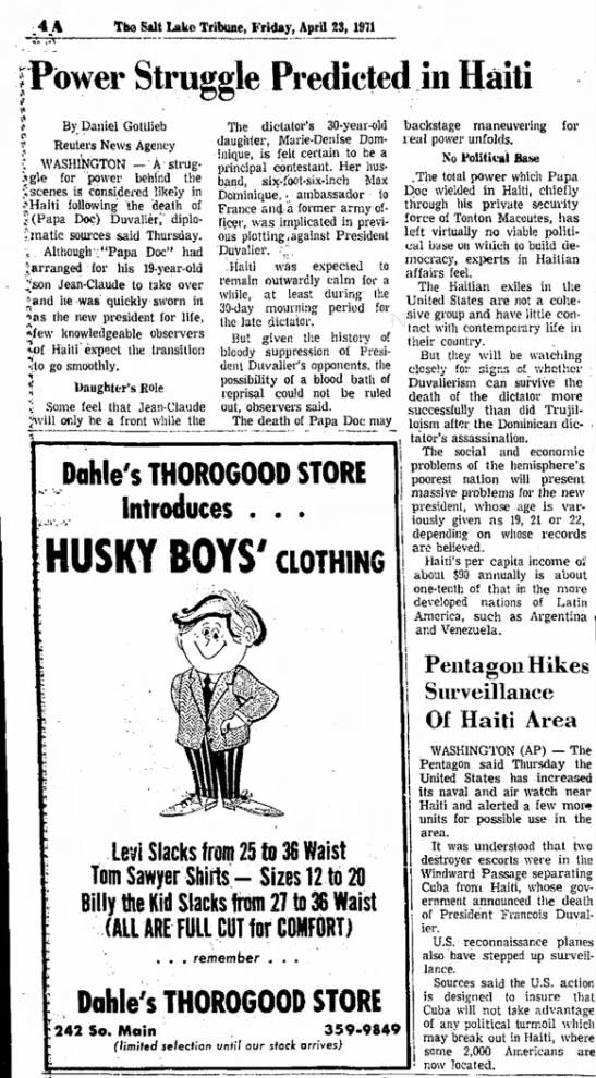 Baby Doc before transition - The Salt Lake Tribune, Friday, April 23, 1971...