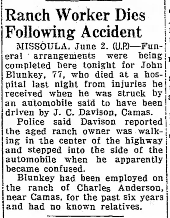 Death of Blunkey - employed by Charles Anderson - 3 June 1941 - | Ranch Worker Dies Following Accident j '...