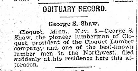 - OBITUARY RECORD. George S. Shaw. Cloque-t,...