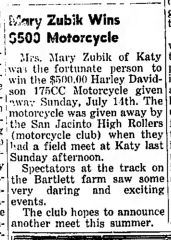 Mary Zubik wins motorcycle