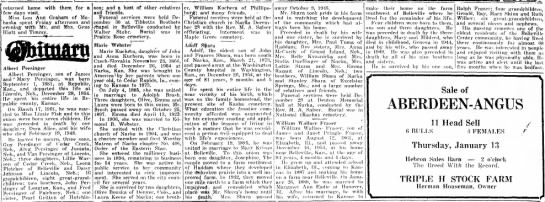 Obituaries from January 6, 1955 - Belleville Telescope - returned home with them for a few days visit....