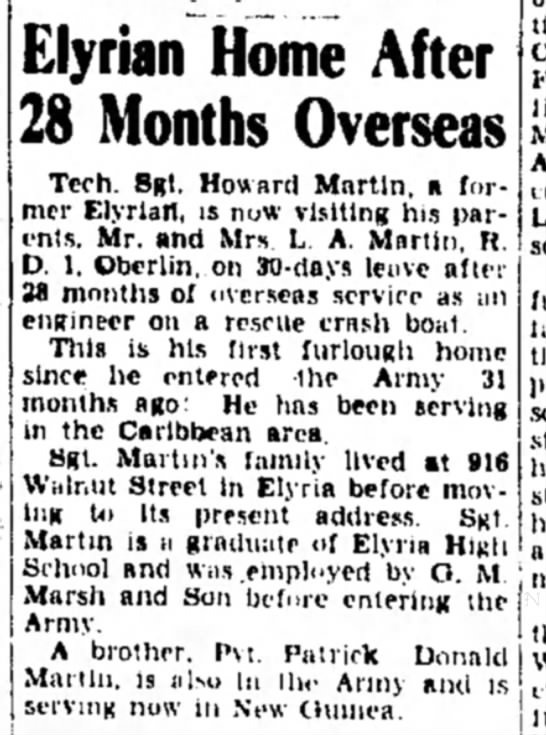 11 Oct 1944 - Elyrian Home After 28 Months Overseas Tech....