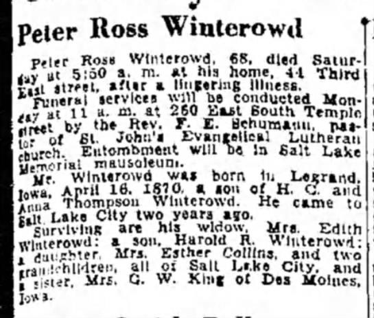 Winterowd family  30 Oct 1938, SLC