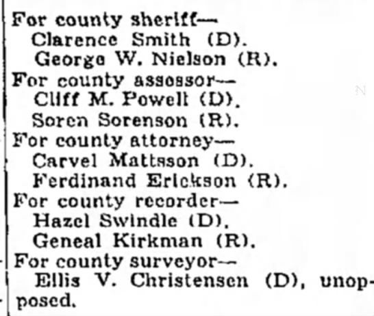 - For county sheriff— Clarence Smith (D). George...