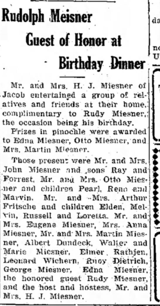 Rudy Miesner Birthday - Rudolph Meisner Guest of Honor at Birthday...