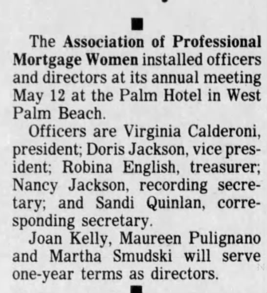 18 May 1988 Association of Professional Mortgage Woman - The Association of Professional Mortgage Women...