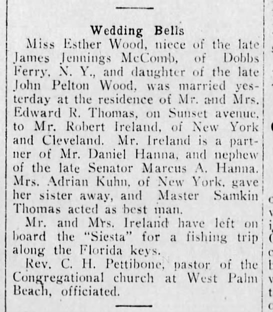 Marriage notice, 1920 - Wedding Bells Aliss Esther Wood, niece of the...