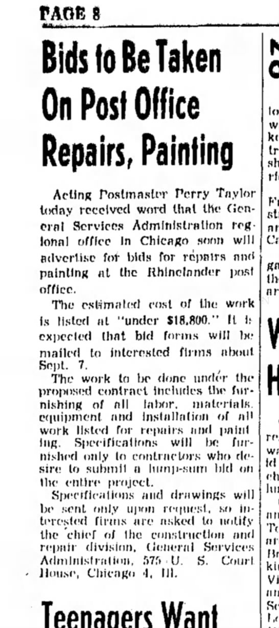 Painting and repairs 1959 - PAGE 6 Bids to Be Taken On Post Office Repairs,...