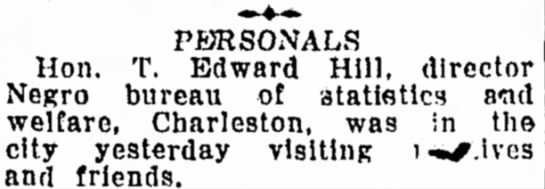 Oct 29 1926 Bluefield Daily Telegraph - Personals - PERSONALS Hon. T. Edward Hill, director Negro...