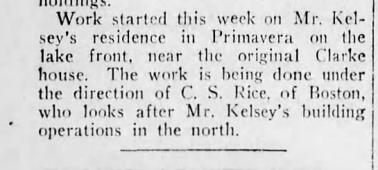 1919 oct 29 kelsey house 2 - Work started this week on Mr. Kelsey's Kelsey's...