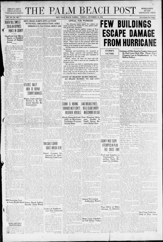 News about the 1928 Okeechobee hurricane - M BEACH ST LARGEST. DAILY CIRCULATION IN pALM...