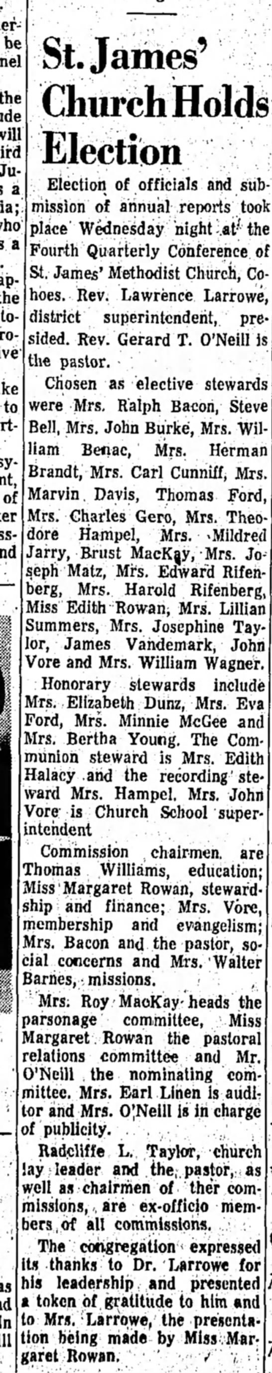 Hampel Theodore Thomas b1902 1967 Newspaper - be will .Judith a a ap- In St. James' Church...