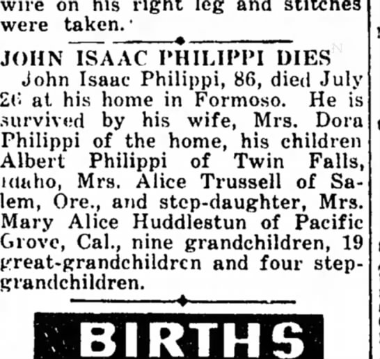 John Isaac Philippi - wire on his right leg and stitches were taken....