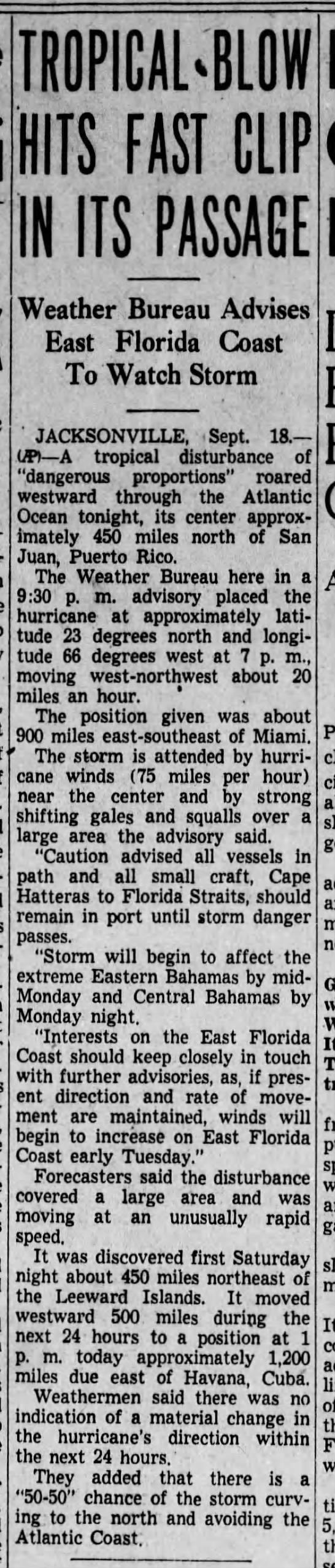 Hurricane may hit Florida, 1938 - TROPICAL-BLOW TROPICAL-BLOW TROPICAL-BLOW HITS...