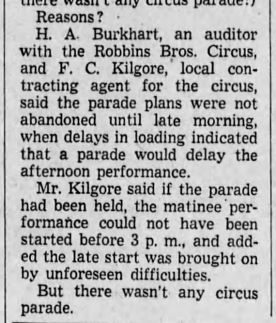 Reason for parade cancellation, 1938 - Reasons? H. A. Burkhart, an auditor with the...
