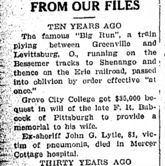 """John G. Lytle-sheriff - FROM OUR FILES TEN YEARS AGO The famous """"Big..."""
