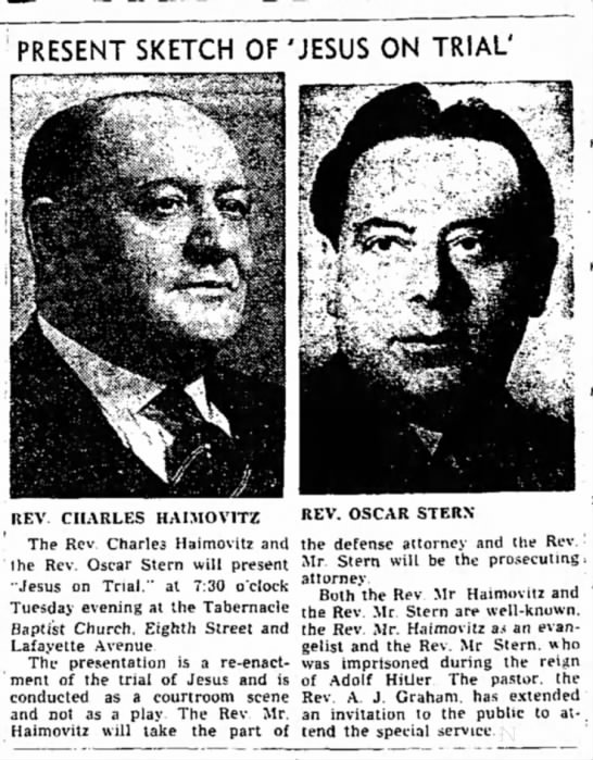Oscar Stern, The Terre Haute (IN) Star, 08 Oct 1949, page 2, column 5 and 6 - PRESENT SKETCH OF 'JESUS ON TRIAL' REV CHARLES...